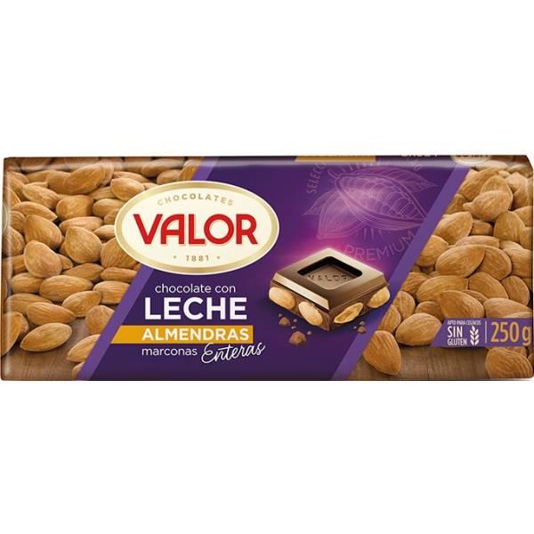 CHOCOLATE CON LECHE Y ALMENDRAS 250G VALOR