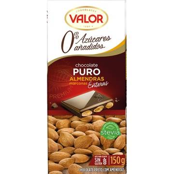 PURE CHOCOLATE WITH ALMONDS NO ADDED SUGAR 150G VALOR