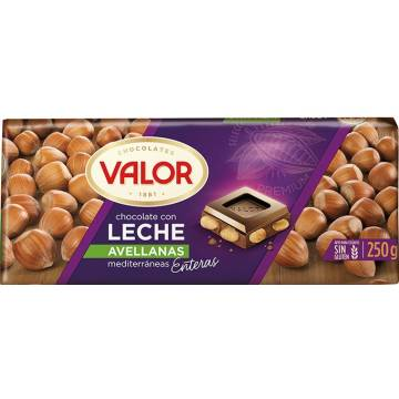 CHOCOLATE CON LECHE Y AVELLANAS 250G VALOR