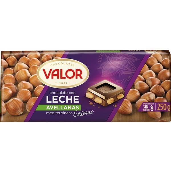 CHOCOLATE CON LECHE Y AVELLANAS 250G VALOR