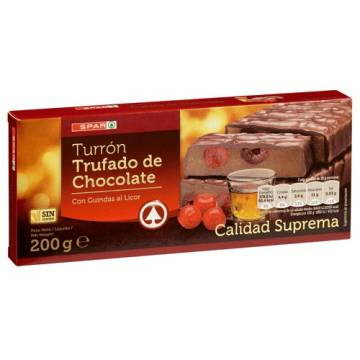 "CHOCOLATE PRALINÉ TURRON WITH LIQUEUR FLAVOURED CHERRIES -GLUTEN FREE- ""SPAR"" (200 G)"