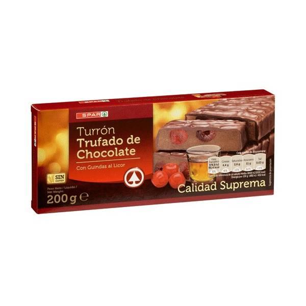 """CHOCOLATE PRALINÉ TURRON WITH LIQUEUR FLAVOURED CHERRIES """"SPAR"""" (200 G)"""