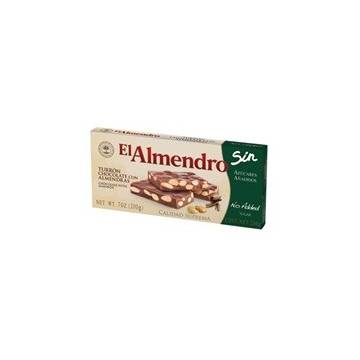 "CHOCOLATE TURRON WITH ALMONDS WITHOUT SUGAR ""EL ALMENDRO"" (200 G)"