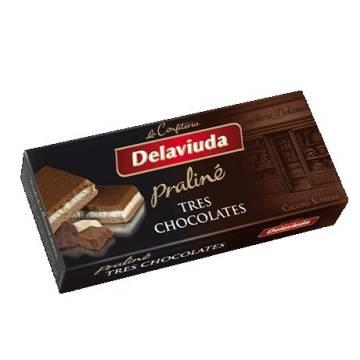TURRÓN PRALINÉ DE TRES CHOCOLATES DELAVIUDA (300 G)