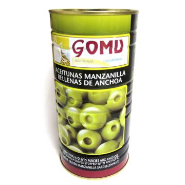 GREEN MANZANILLA OLIVES STUFFED WITH ANCHOVIES 600G GOMU