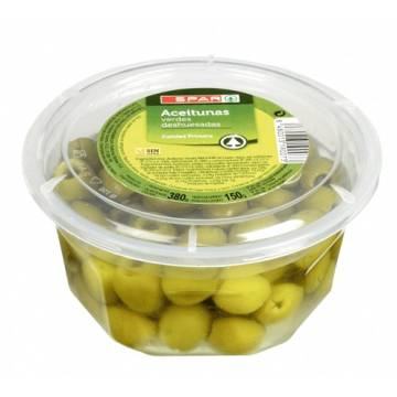 "PITTED GREEN OLIVES ""SPAR"""