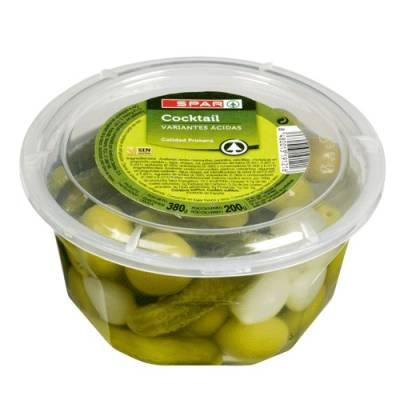COCKTAIL OF OLIVES, GHERKINS AND LITTLE ONIONS 380G SPAR