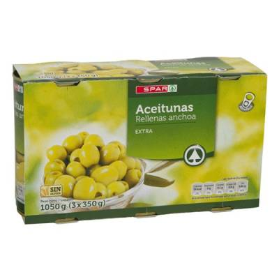 "GREEN OLIVES STUFFED WITH ANCHOVIES PACK3 ""SPAR"""