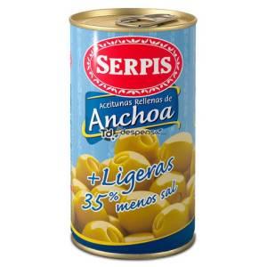 ACEITUNAS RELLENAS DE ANCHOA + LIGERAS 350G SERPIS