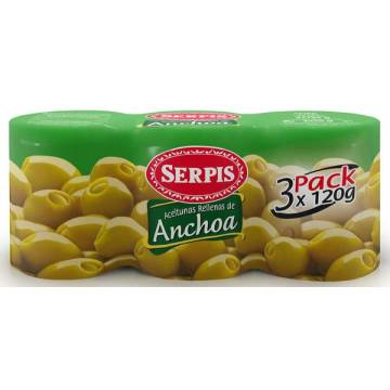 "GREEN OLIVES STUFFED WITH ANCHOVIES PACK 3""SERPIS"""