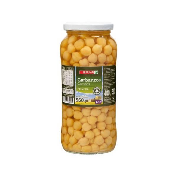 Garbanzos cocidos Spar 560g.