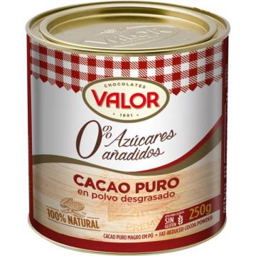 PURE COCOA POWDER WITHOUT SUGAR ADDED VALOR 250 G