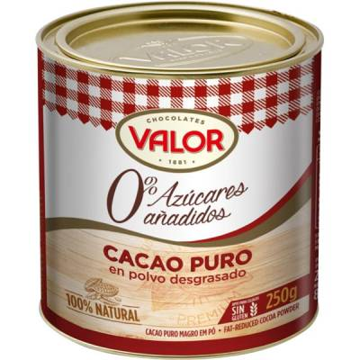 PURE COCOA POWDER WITHOUT ADDED SUGAR CAN 250G VALOR