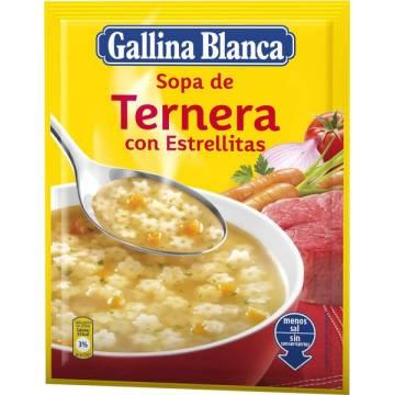 """SOPA DE TERNERA CON ESTRELLITAS """"GALLINA BLANCA"""""""