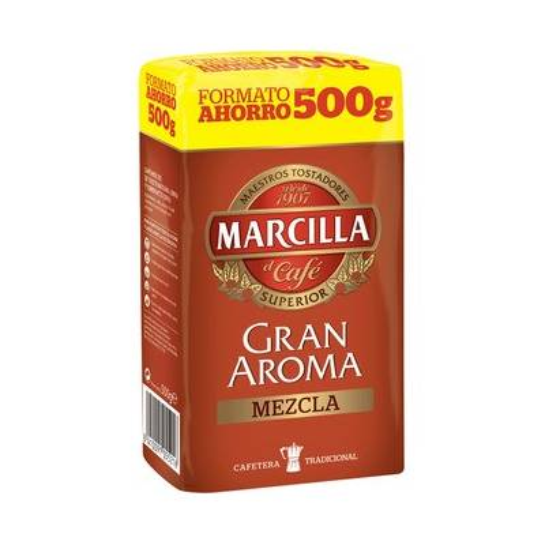 "GROUND MIXED COFFEE GRAN AROMA 500G ""MARCILLA"""