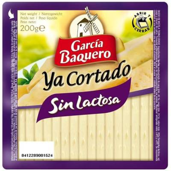 QUESO SIN LACTOSA YA CORTADO 200G GARCIA BAQUERO
