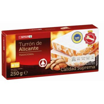"HARD ALMOND TURRON FROM ALICANTE -GLUTEN FREE- ""SPAR"" (250 G)"