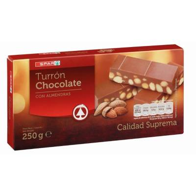 "CHOCOLATE TURRON WITH ALMONDS ""SPAR"" (250 G)"