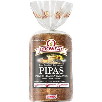 "WHOLEGRAIN BREAD WITH SUNFLOWER, PUMPKIN AND POPPY SEEDS - OROWEAT PIPAS ""BIMBO"" (680 G)"