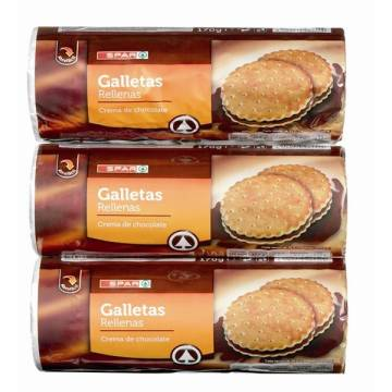 "GALLETAS RELLENAS DE CHOCOLATE PACK 3 ""SPAR"" (510 G)"
