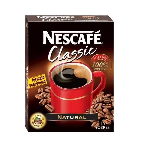 CAFÉ SOLUBLE NATURAL NESCAFÉ CLASSIC 10 SOBRES NESTLÉ