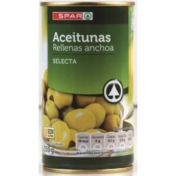 OLIVES STUFFED WITH SELECTED ANCHOVIES 350G SPAR