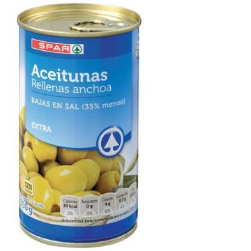 OLIVES STUFFED WITH ANCHOVIES WITH LESS SALT 350G SPAR