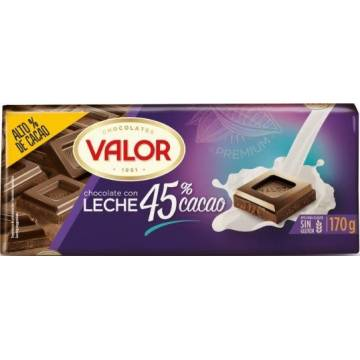 CHOCOLATE CON LECHE 45% CACAO 170G VALOR