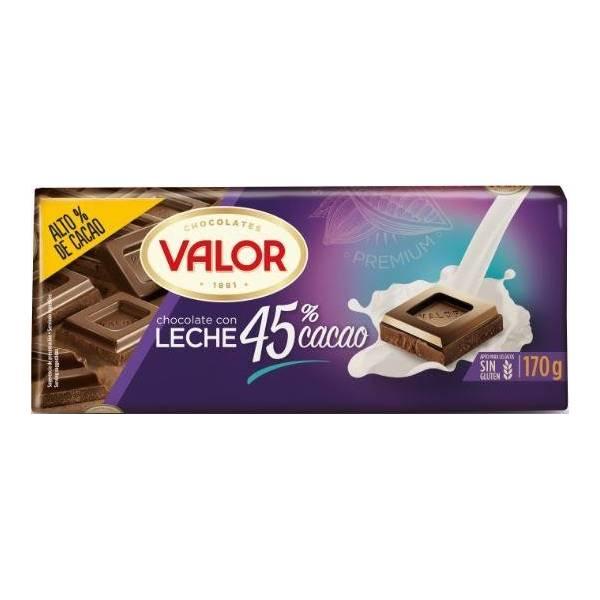 CHOCOLATE CON LECHE 45% CACAO 170G VALOR