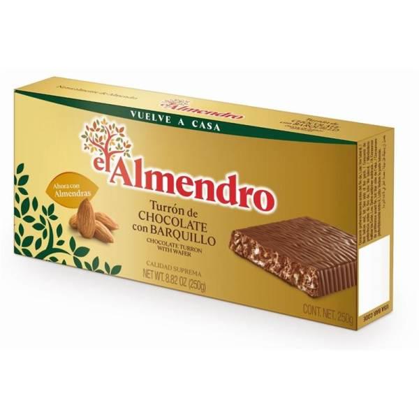 """TURRÓN DE CHOCOLATE CON BARQUILLO """"EL ALMENDRO"""" (285 G)"""