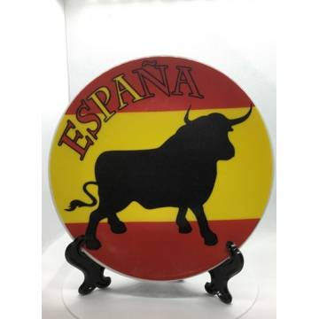 PLATE SPANISH BULL AND FLAG