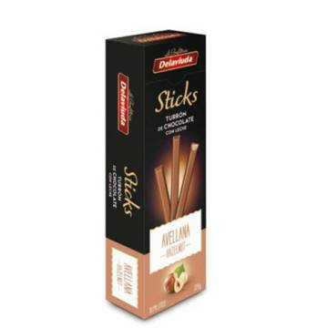 CHOCOLATE-HAZELNUT NOUGAT STICKS 120G DELAVIUDA