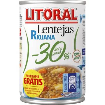 RIOJA LENTIL STEW -30% SALT AND FAT 425G LITORAL