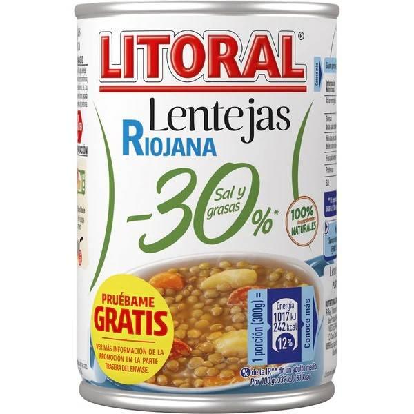 LENTILLES RIOJANAS -30% SEL ET GRAISSE 425G LITORAL