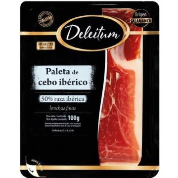 IBERIAN CEBO SHOULDER HAM SLICES 100G DELEITUM