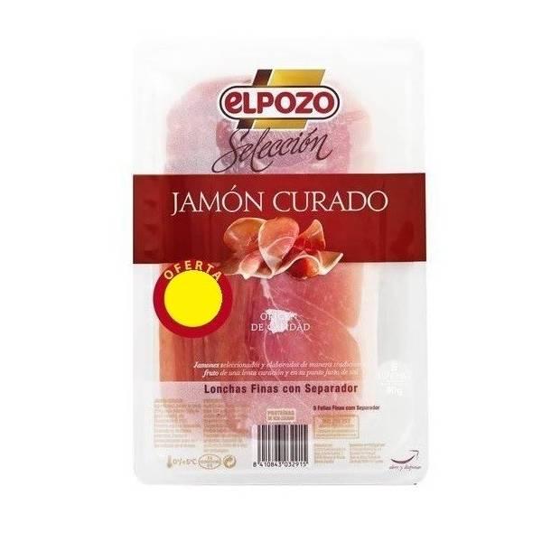 Jamón curado selección en lonchas EL POZO 90g.