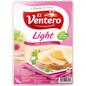 SLICED LIGHT MILD CHEESE 160G EL VENTERO