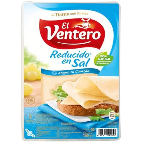Queso tierno bajo en sal en lonchas EL VENTERO 160g.