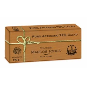 CHOCOLATE PURO ARTESANO 72% CACAO TABLETA ESTUCHE 500G