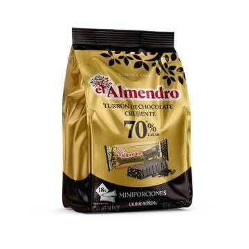 CRUNCHY 70%COCOA CHOCOLATE NOUGAT IN PORTIONS 400G EL ALMENDRO