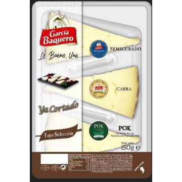 SELECTION OF SEMI-CURED, GOAT AND SHEEP POK CHEESE - PRE-CUT - 150G GARCÍA BAQUERO