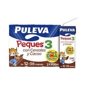 PULEVA PEQUES 3 CON CEREALES Y CACAO PACK DE 3X200 ML, 600ML