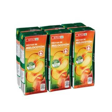 "PEACH JUICE WITHOUT SUGAR 6X200ML ""SPAR"""
