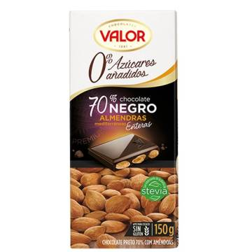 DARK CHOCOLATE 70% WITH ALMONDS NO ADDED SUGAR 150G VALOR