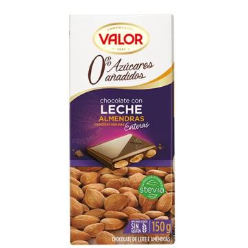 MILK CHOCOLATE WITH ALMONDS NO ADDED SUGAR 150G VALOR