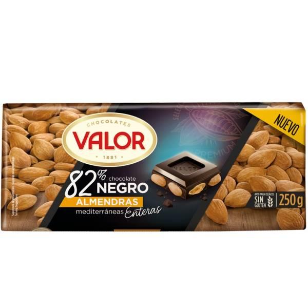 DARK CHOCOLATE 82% WITH ALMONDS 250G VALOR