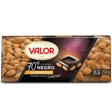 CHOCOLAT NOIR 70% AUX AMANDES ENTIÈRES 250G VALOR