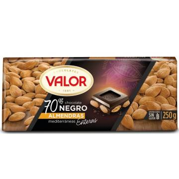 DARK CHOCOLATE 70% WITH ALMONDS 250G VALOR